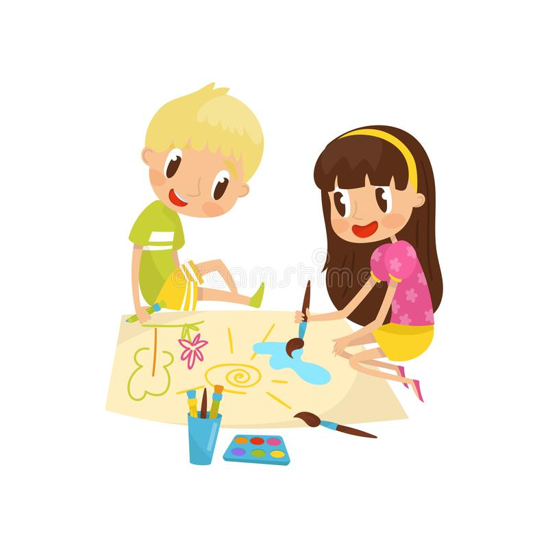 Cute little girl and boy sitting on the floor and drawing paints on large sheet of paper, education and child stock illustration