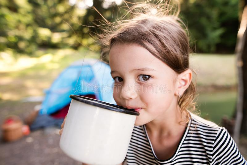 Cute little girl camping outdoors, drinking water. royalty free stock photography
