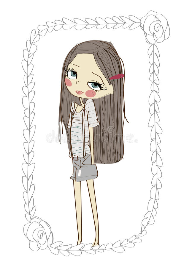 Cute little girl stock illustration