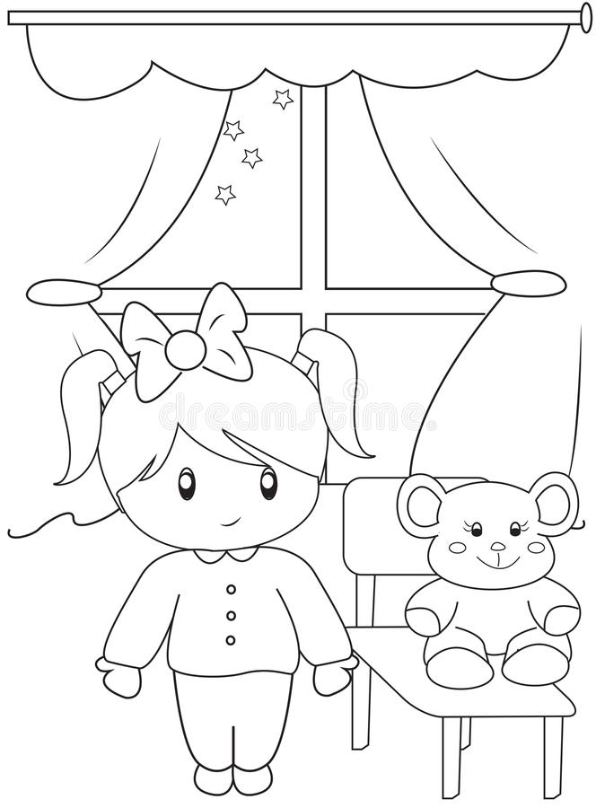 Cute Little Girl Coloring Page Stock Illustration Image 49892378