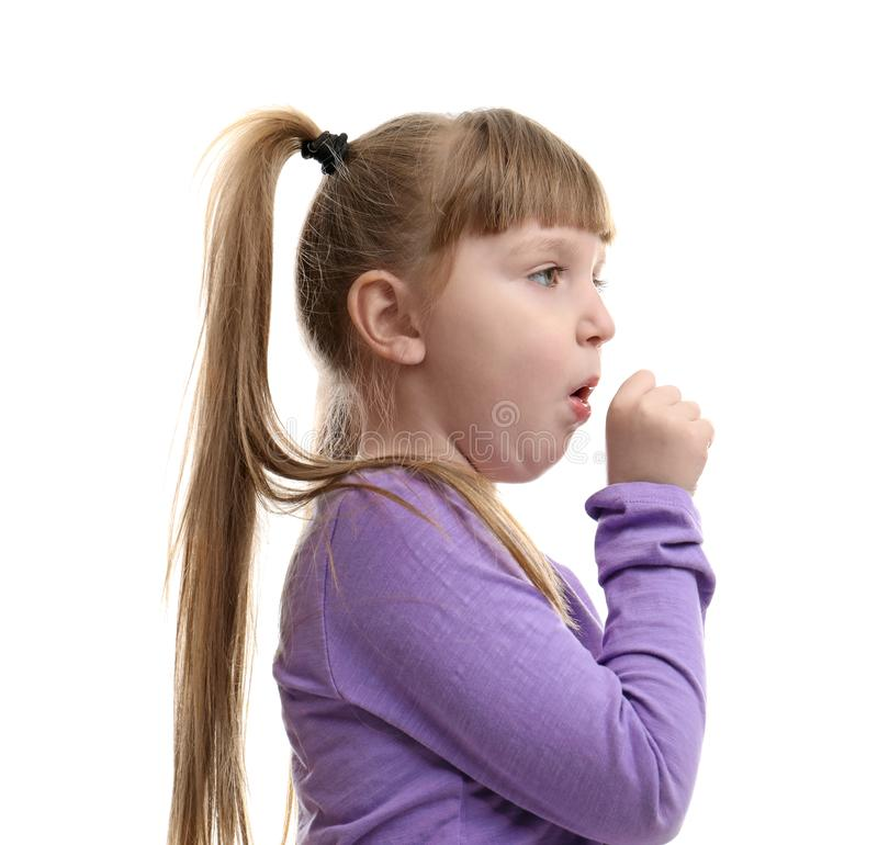 Cute little girl coughing against. White background stock images