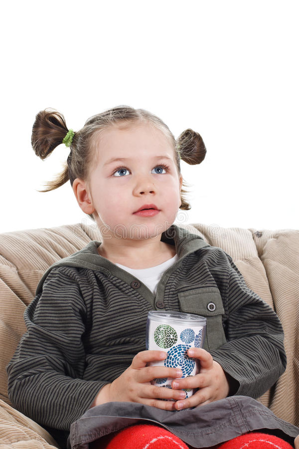 Download Cute little girl with cup stock image. Image of background - 23658359