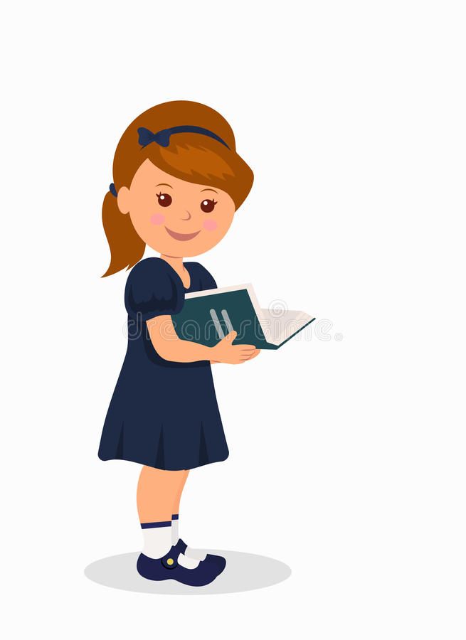 Cute little girl in a dark blue dress reading a book. Isolated character child standing with a book vector illustration