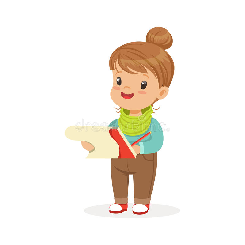 Cute little girl drawing with pencil in notebook, kids creativity, education and child development, colorful character vector illustration