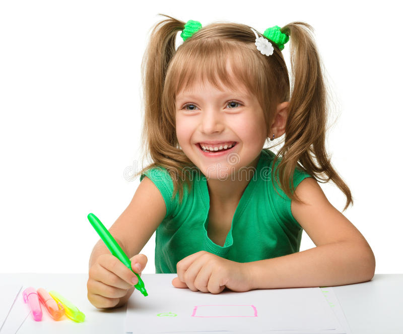 Download Cute Little Girl Draws With Markers Stock Image - Image: 20597463
