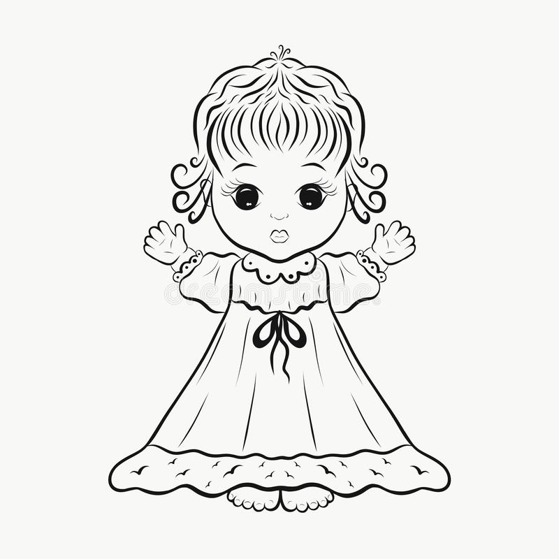 Download A Cute Little Girl In Dress Coloring Page Stock Illustration