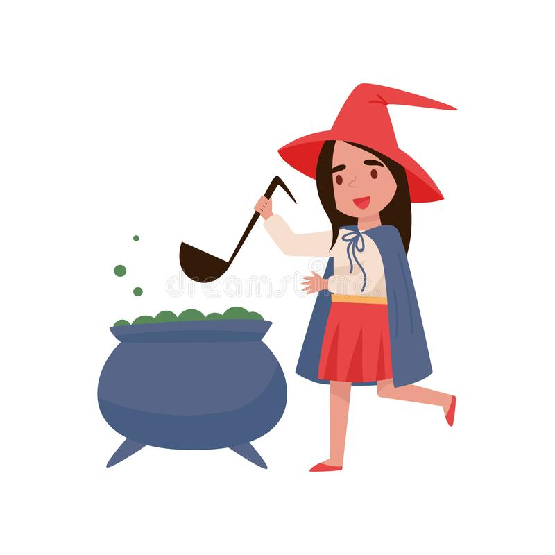 Cute little girl dressed as a witch preparing potion in a cauldron vector Illustration on a white background royalty free illustration