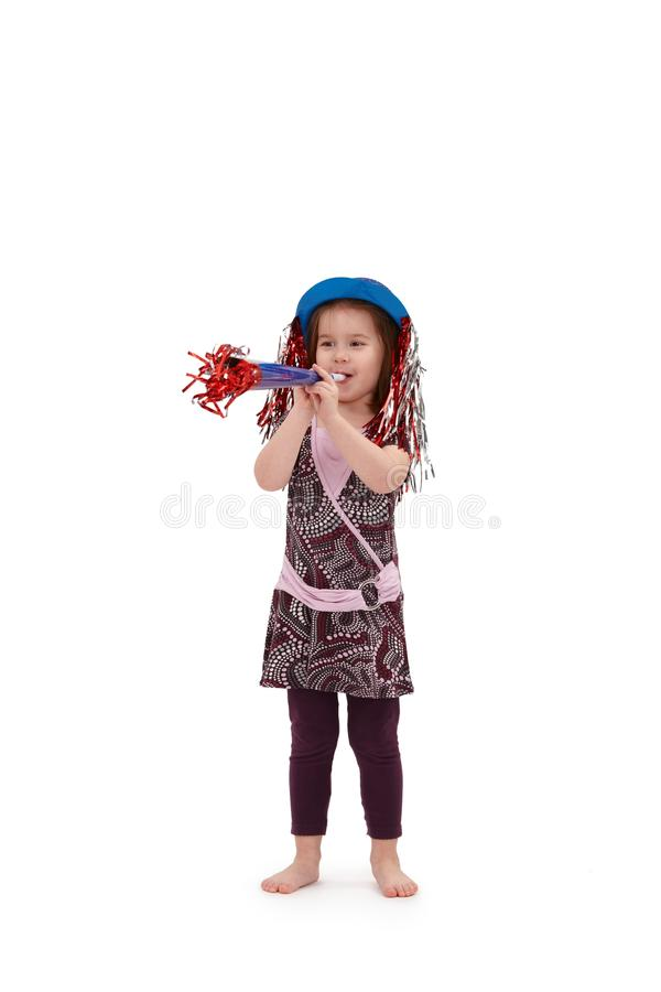 Cute little girl dressed for birthday royalty free stock photography