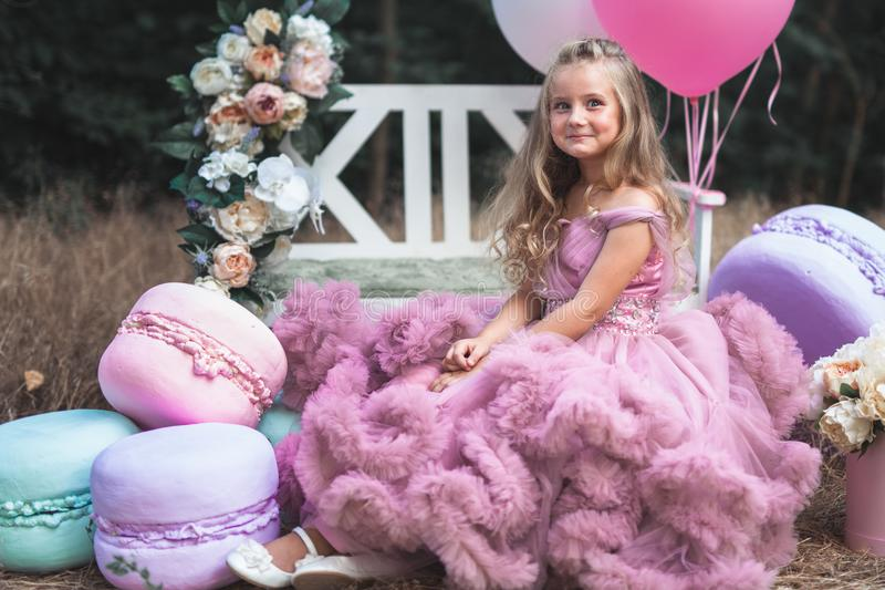 Cute little girl dressed in pink stunning dress holds French Macaron stock photos