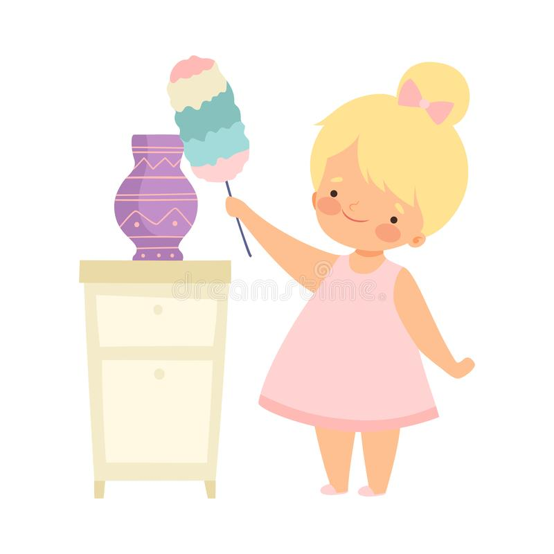 Cute Little Girl with Duster Cleaning Vase, Adorable Kid Doing Housework Chores at Home Vector Illustration. On White Background royalty free illustration