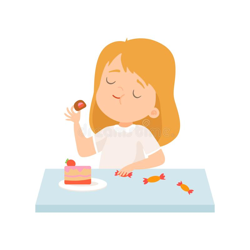 Cute Little Girl Eating Cake and Sweets Vector Illustration royalty free illustration