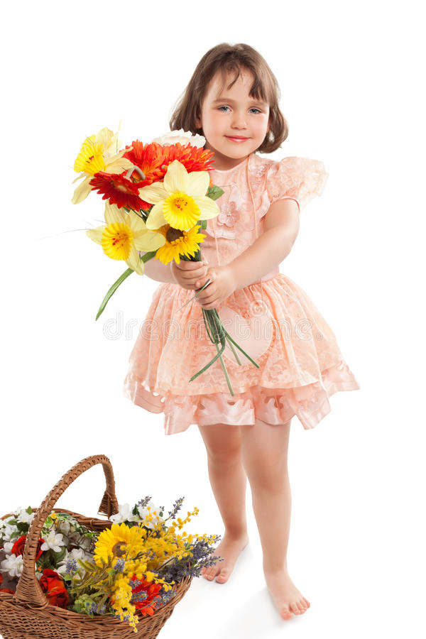 Download Cute Little Girl With Flowers Stock Photo - Image: 20631180