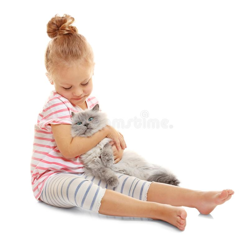 Cute little girl with fluffy cat. On white background royalty free stock photos