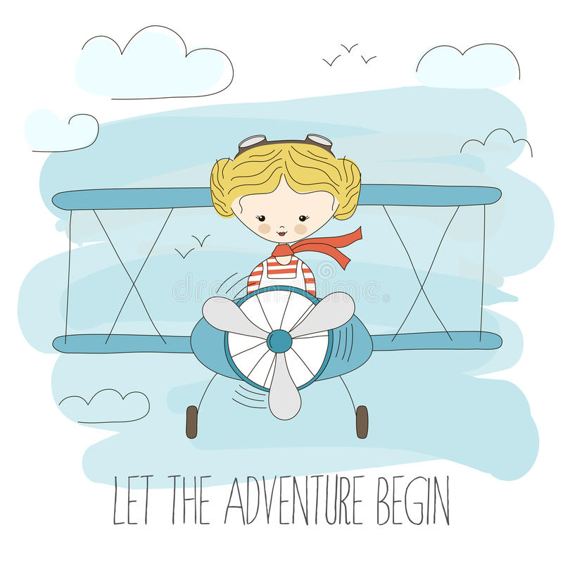 Cute little girl flying a plane on sky. Hand drawn cartoon vector illustration. Let the adventure begin. Fantasy summer royalty free illustration