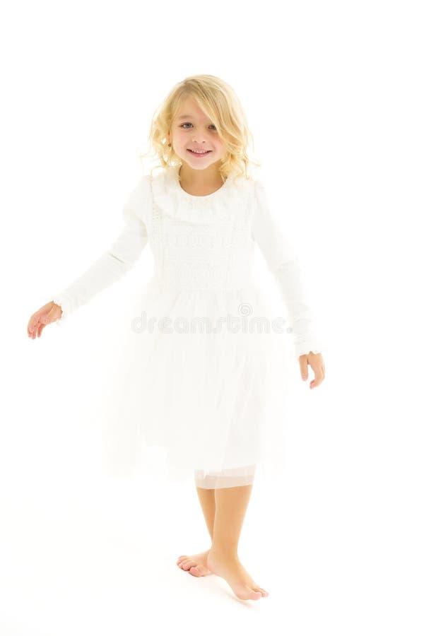 Free Cute Little Girl Fun Running Around The Room. Stock Photos - 183617483