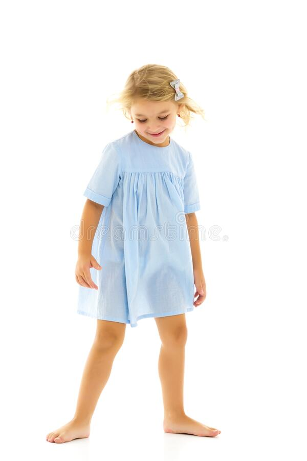 Free Cute Little Girl Fun Running Around The Room. Children`s Games. Stock Photography - 183385282