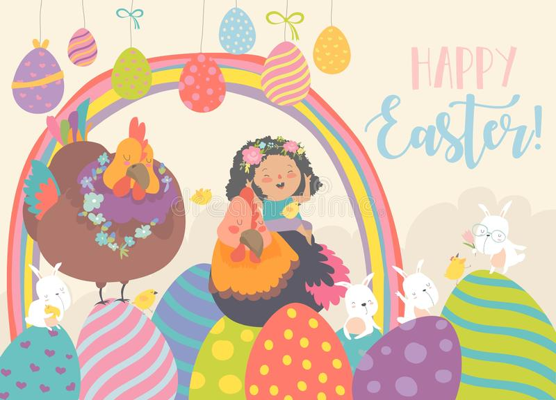 Cute little girl with funny chickens and rabbits. Happy Easter stock illustration