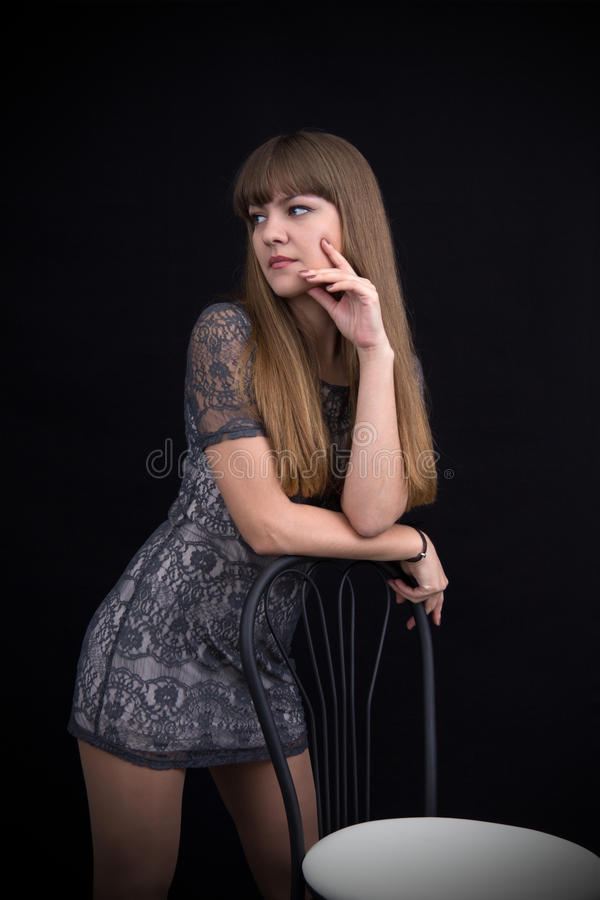 Cute Little Girl In A Gray Dress Stock Image - Image Of -4016