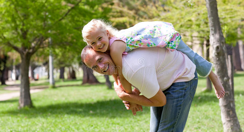 Cute Little Girl Having Fun With Her Father Royalty Free Stock Photography