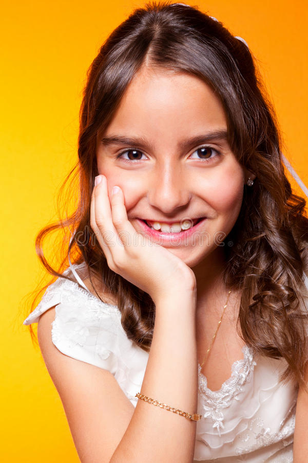 Download Cute Little Girl In Her First Communion Day Stock Image - Image of small, catholicism: 24851989