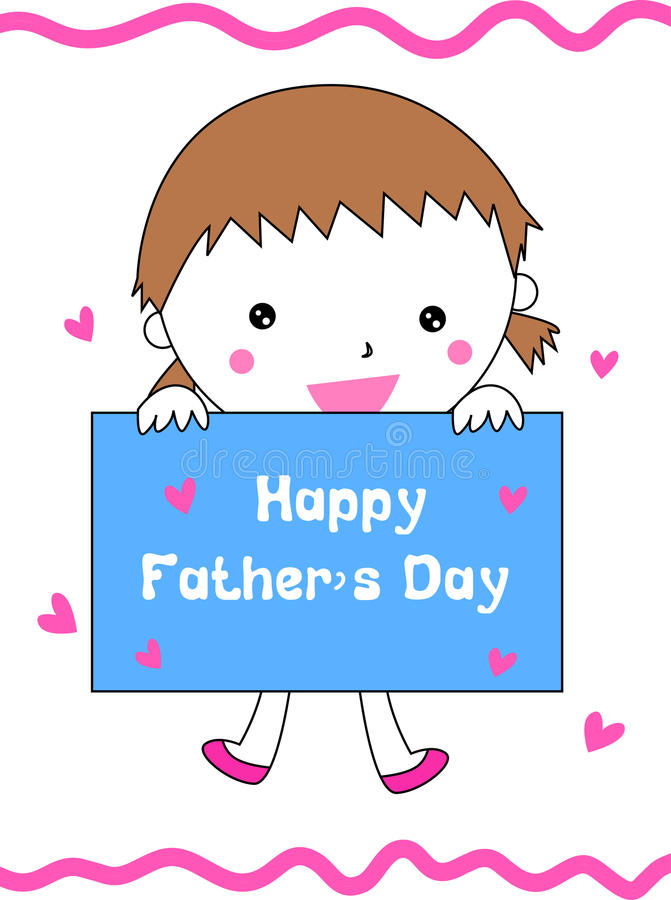 Cute little girl holding a banner for father' s day vector illustration