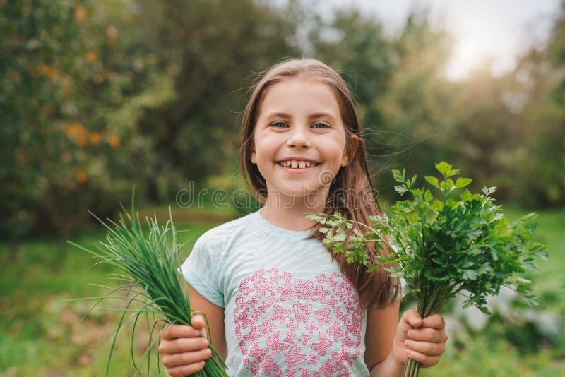 Cute little girl holding herbs outside stock photo