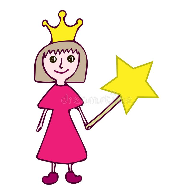 Cute little girl holding magic wand with star stock illustration