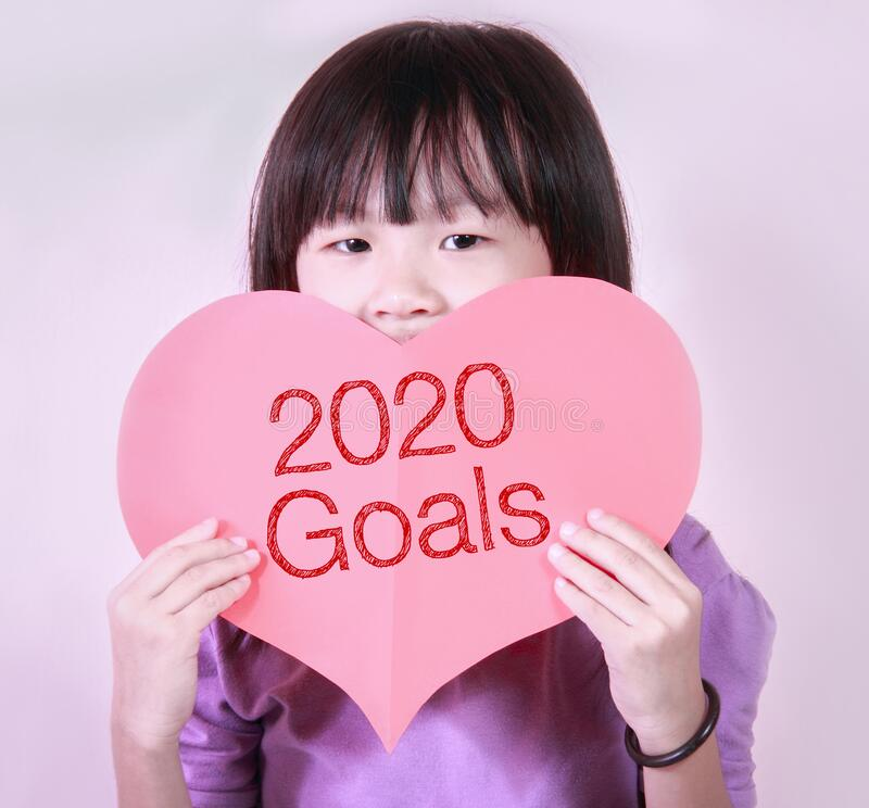 Red heart shape card with goals 2020 stock images
