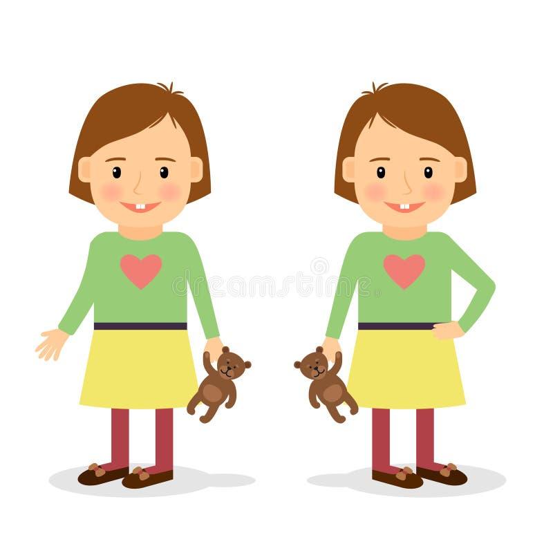 Cute little girl holding teddy bear stock illustration