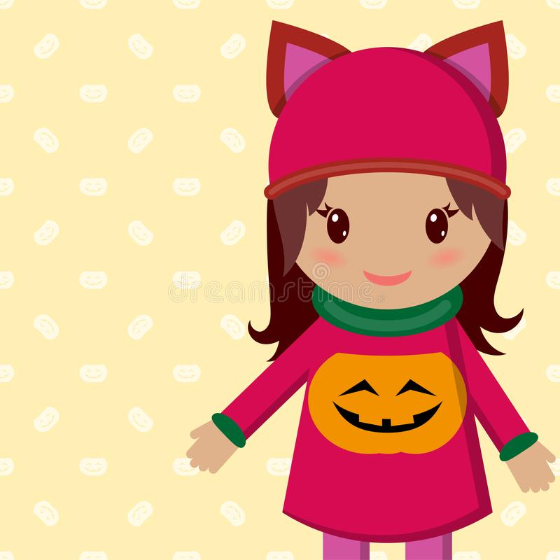 Cute little girl on a holiday halloween and in a blouse with a pumpkin. royalty free illustration