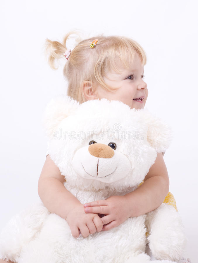 Download Cute Little Girl Hugging Teddybear Stock Image - Image: 21138261
