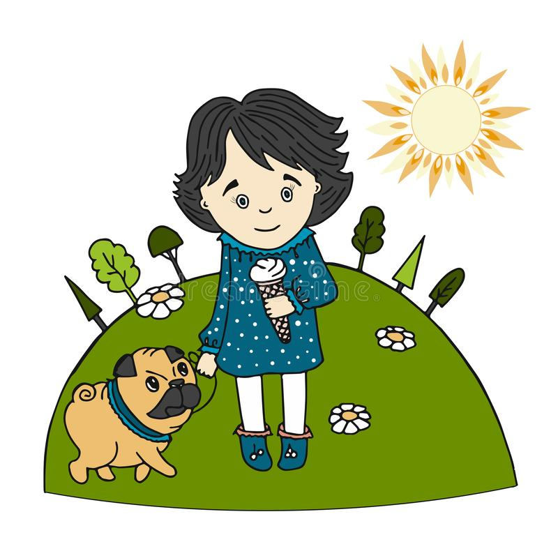 Cute little girl with ice cream in her hand and a dog vector illustration