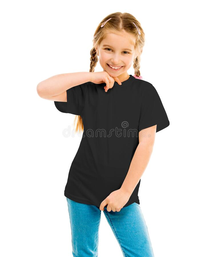 Free Cute Little Girl In A Black T-shirt And Blue Jeans Stock Photos - 175945343