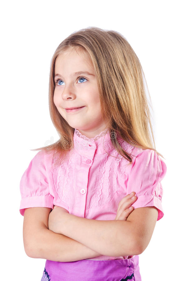 Cute Little Girl Isolated Stock Images