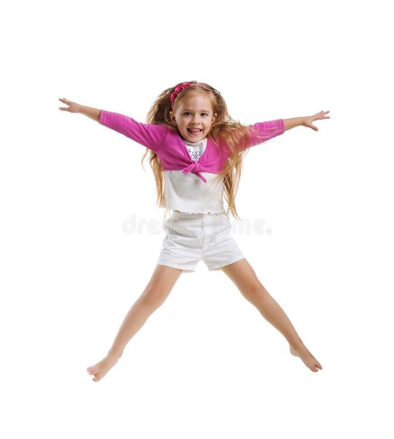 Cute little girl jump royalty free stock photo