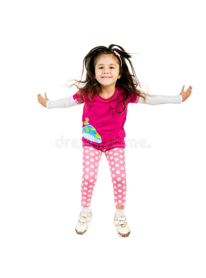 Download Cute little girl jump. stock photo. Image of arms, playing - 22040994