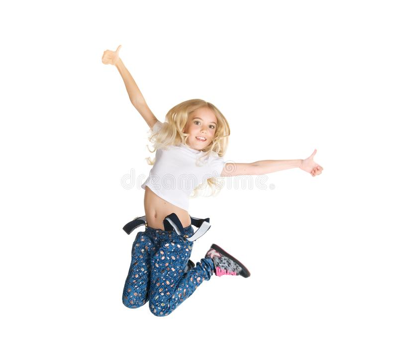 Cute little girl jump royalty free stock photos