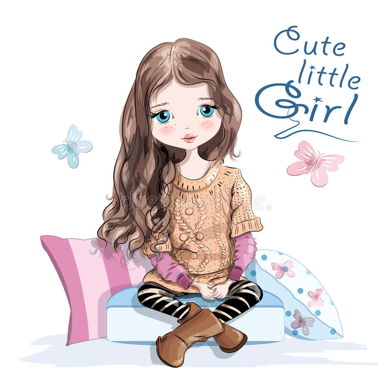 Cute little girl in knitted sweater and skirt sitting on soft pillows. Beautiful young girl with long hair. Hand drawn girl. vector illustration