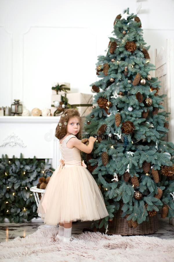 A cute little girl in a lush beige dress hangs cones on the Christmas tree that is standing in the house. Christmas tale, happy royalty free stock image