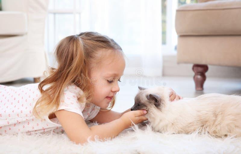 Cute little girl lying on floor with cat. Cute little girl lying on floor with fluffy cat stock image