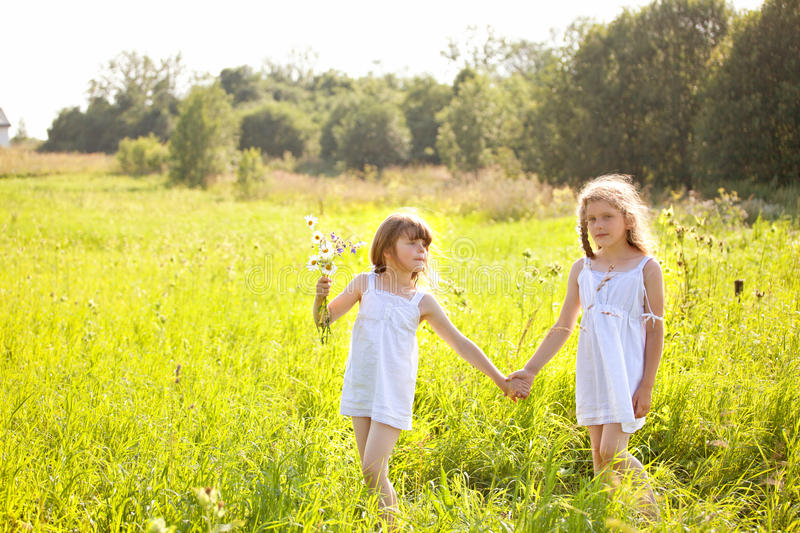 Cute little girl on the meadow stock photo