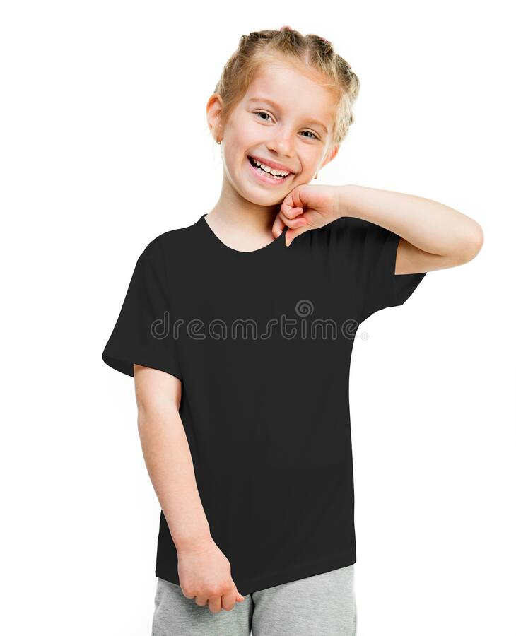 Free Cute Little Girl On Black T-shirt Stock Photography - 187071592