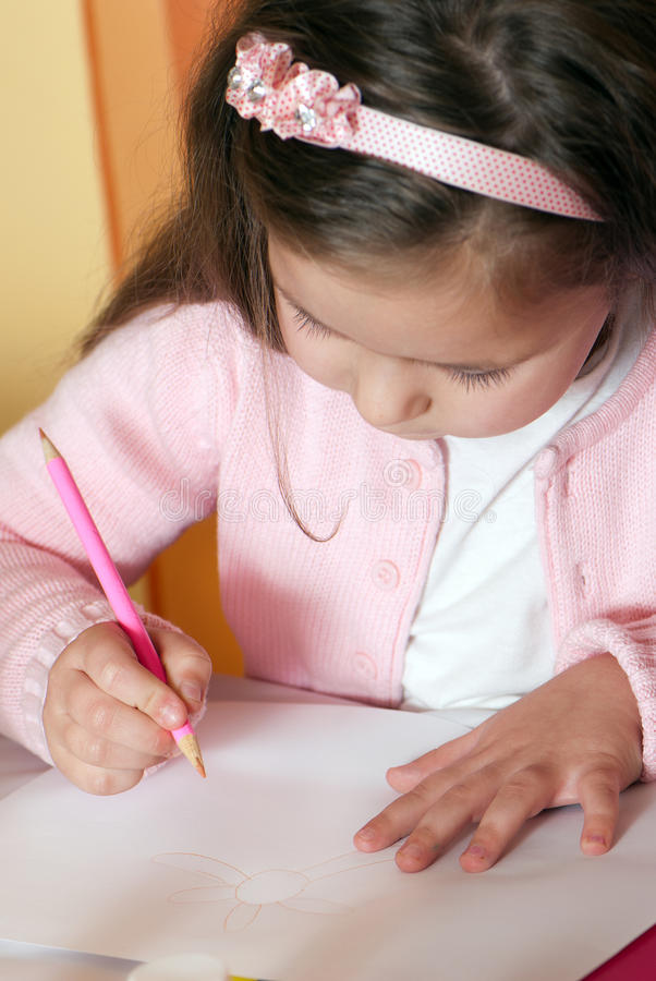 Download Cute little girl painting stock image. Image of daughter - 16774283