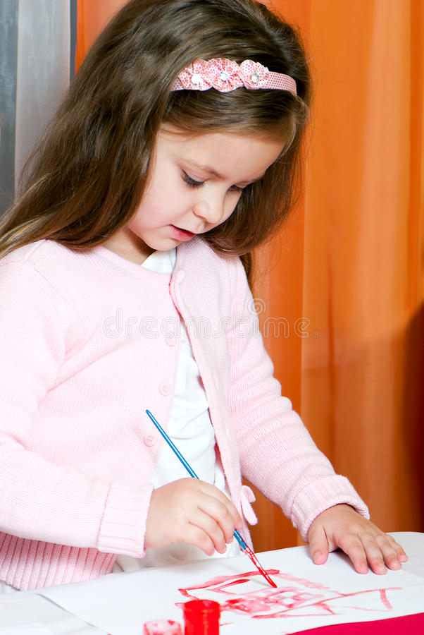 Download Cute little girl painting stock photo. Image of healthy - 17466198