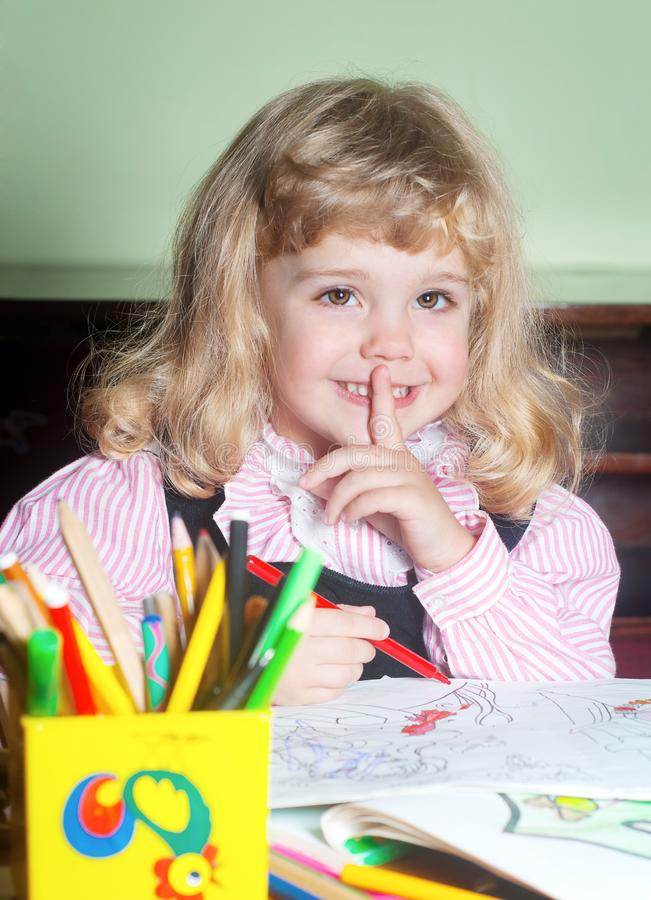 Download Cute little girl painting stock photo. Image of expression - 17467050
