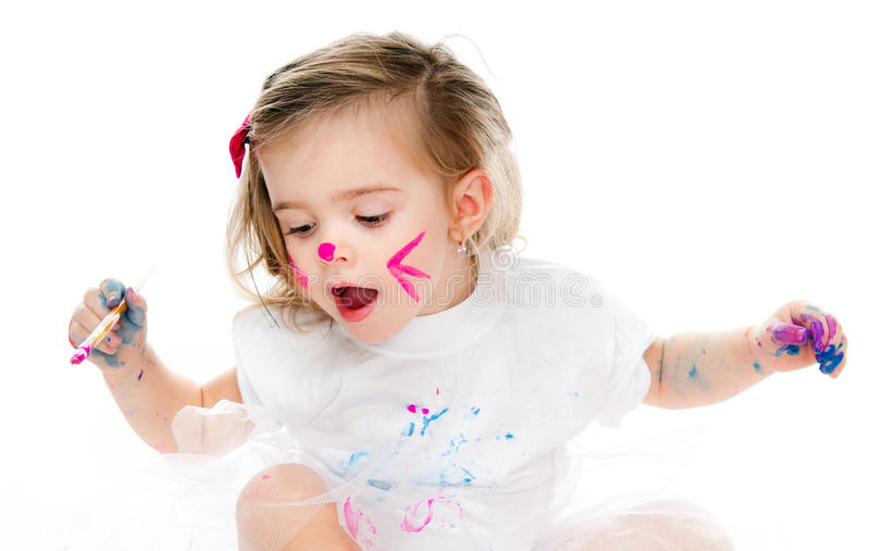 Download Cute little girl painting stock image. Image of female - 27548331
