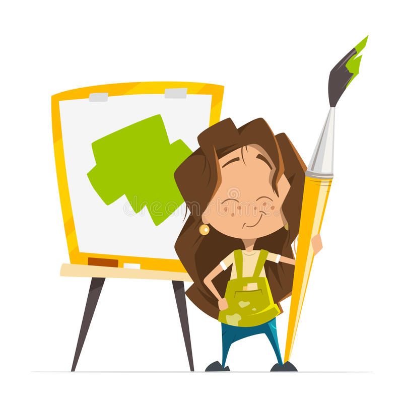 Cute little girl painting picture holding brush easel stock illustration