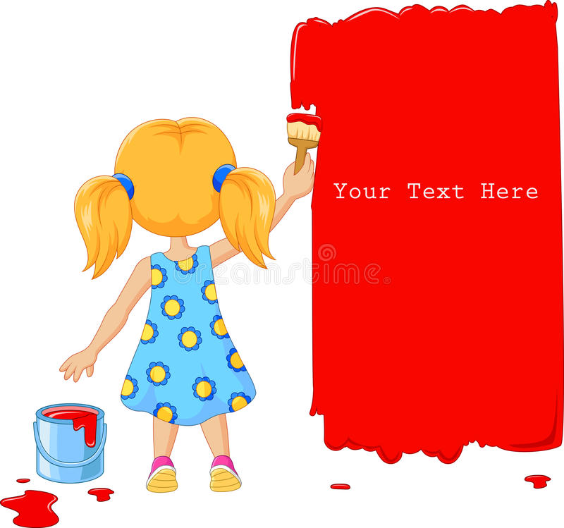 Cute little girl painting the wall with red color vector illustration