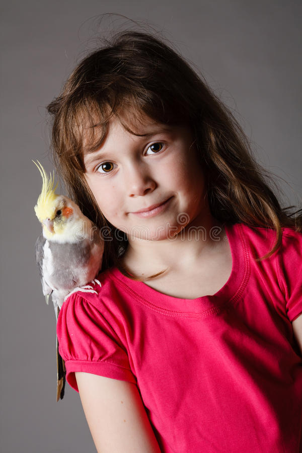 Girl with a cockatiel royalty free stock images