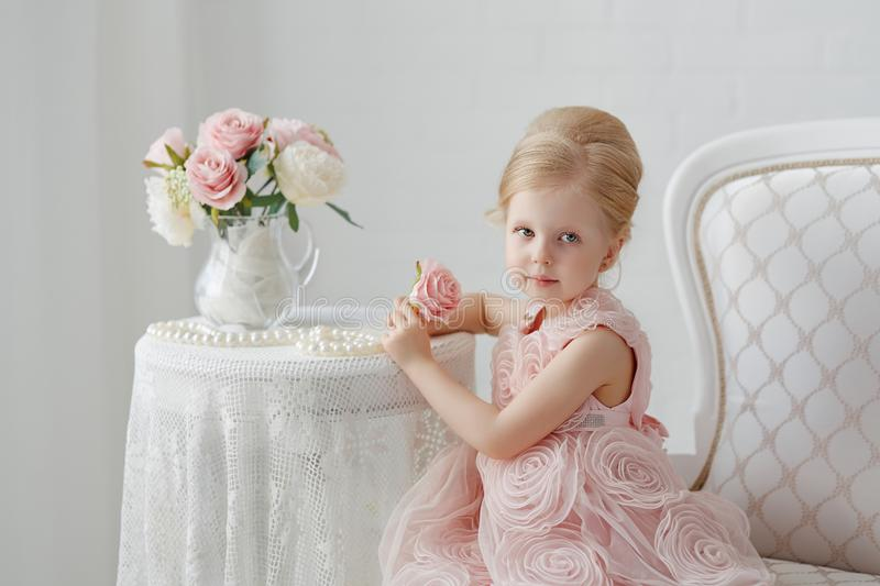 Cute little girl in a pink dress. Portrait on a white background stock image